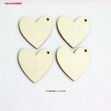 (120 stks/partij) een hole unfinished houten hart sleutelhanger bulk uitsparing gunst houtsoorten bruiloft liefde tags 40mm-CT1119(China (Mainland))
