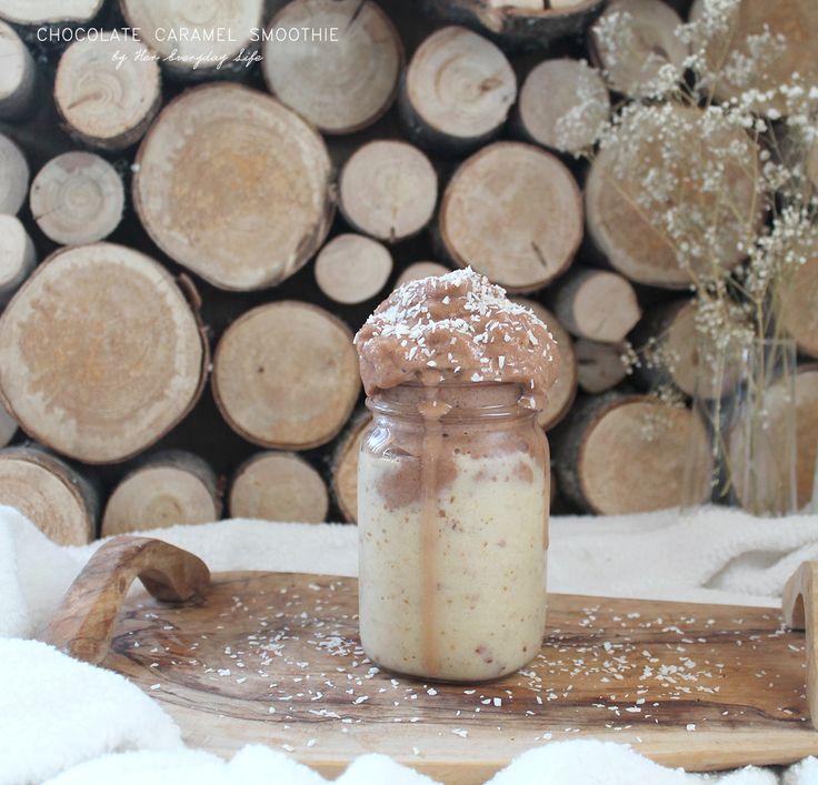 Chocolate Caramel Smoothie #healthyeating #recipe #smoothie #vegan