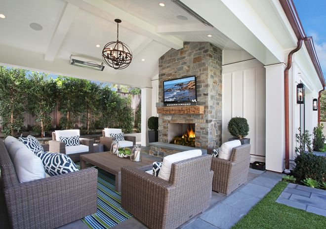Great place for chilly beach evenings.  California Family Home with Transitional Coastal Interiors
