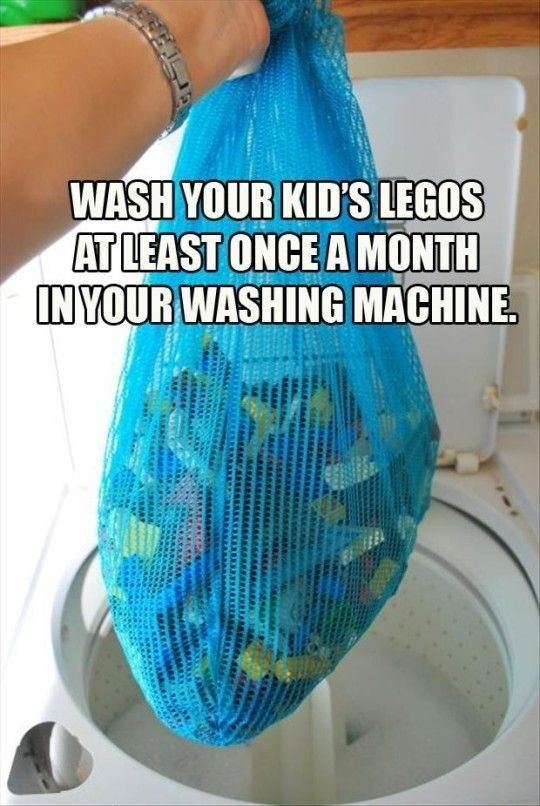 Make cleaning Lego bricks easy by putting them in the washing machine.   100 Genius Hacks Guaranteed To Make A Parent's Job Easier