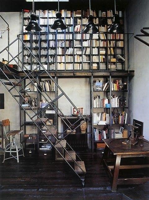 Industrial LoftBookshelves, Dreams Libraries, Home Libraries, Interiors, Loft, Bookcas, Industrial Chic, Industrial Style, House