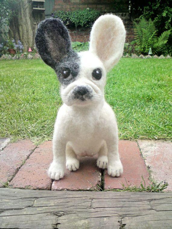 French Bulldog/ Frenchie Needle Felted OOAK by LoveableNeedlefelts, £84.00