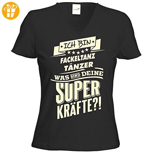 getshirts - RAHMENLOS® Geschenke - T-Shirt Damen V-Neck - Superkräfte - Fackeltanz tanzen - schwarz M (*Partner-Link)