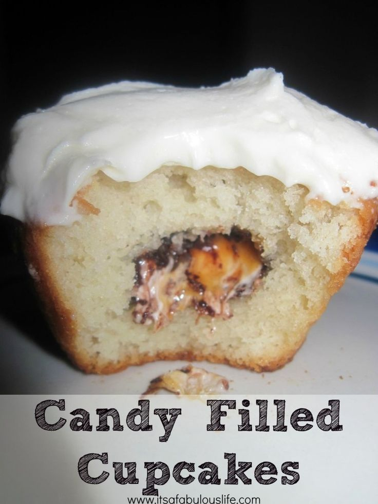 Candy Filled Cupcakes - Awesome idea for all of your leftover Easter or Halloween candy!!  Super easy too!