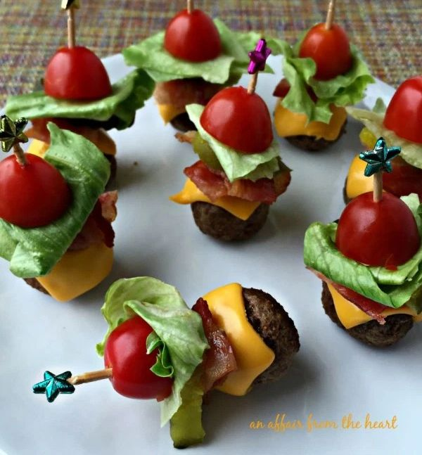 The Best Bridal Shower Ideas - Mini Cheeseburgers From Meatballs