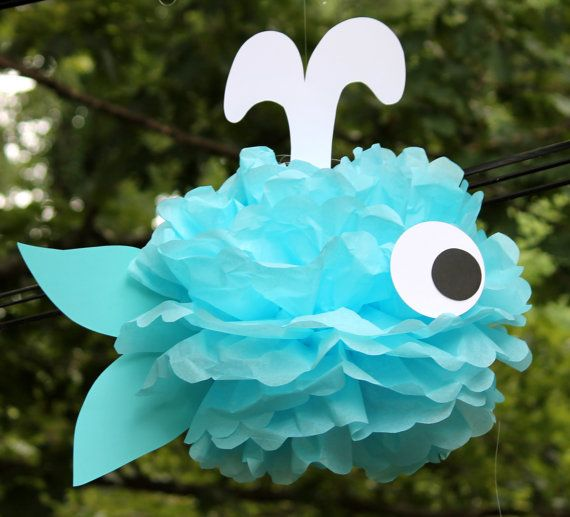 Whale tissue paper pom pom kit  under the sea ocean water mermaid decoration on Etsy, $9.99
