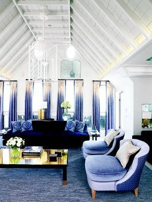 WOW - beautiful blue living room! So open and light.