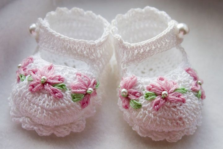 CC56-Fancy Mary Janes Crochet Baby Booties Pattern