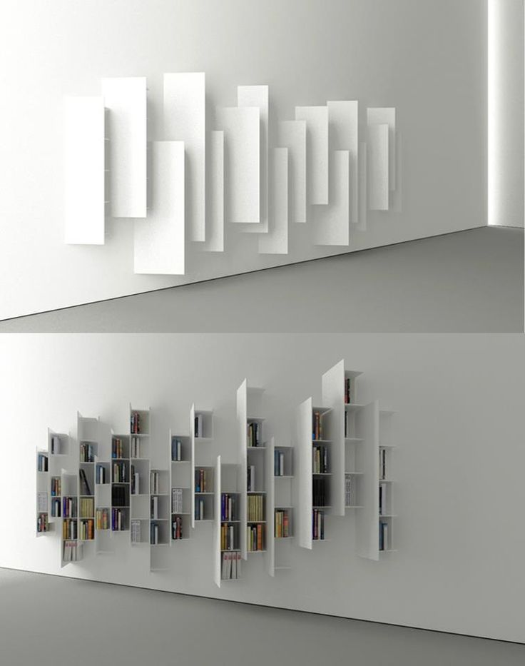 Angle book shelves.