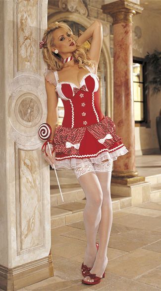 Red Candy Cane Lace Bow Christmas Dress Costume Miss Santa