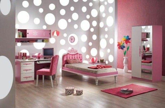 chambre en rose, parquet en bois clair, idees deco chambre ado fille