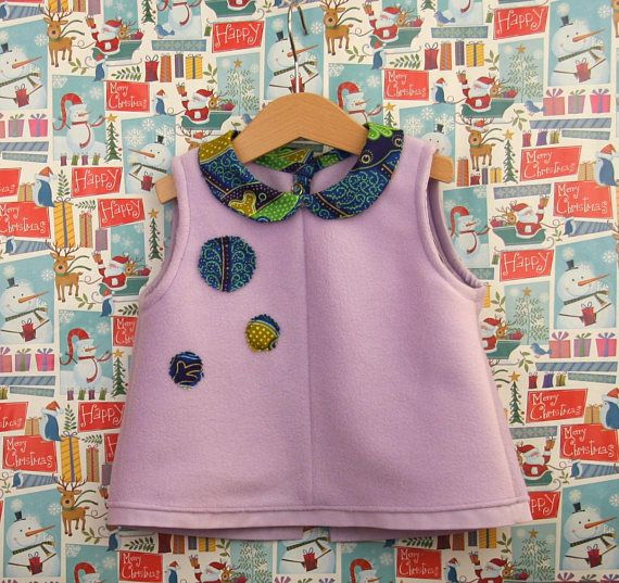 Baby girl purple blouse lilac fleece and wax cotton