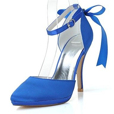 KADIN - Topuklar/Sivri Uçlu - İnce Topuk - Saten Pompalar / Topuklar ( Siyah/Mavi/Pembe/Fildişi/Beyaz ) – USD $ 34.99