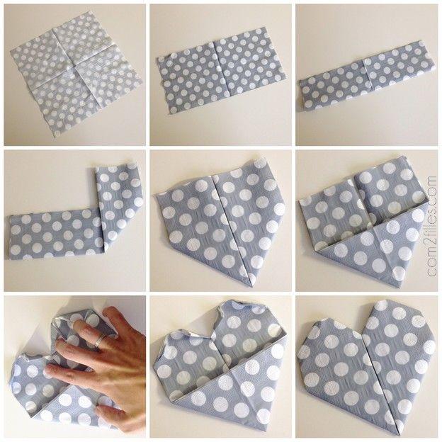 Déco rapide pour la saint valentin : un pliage de serviette coeur