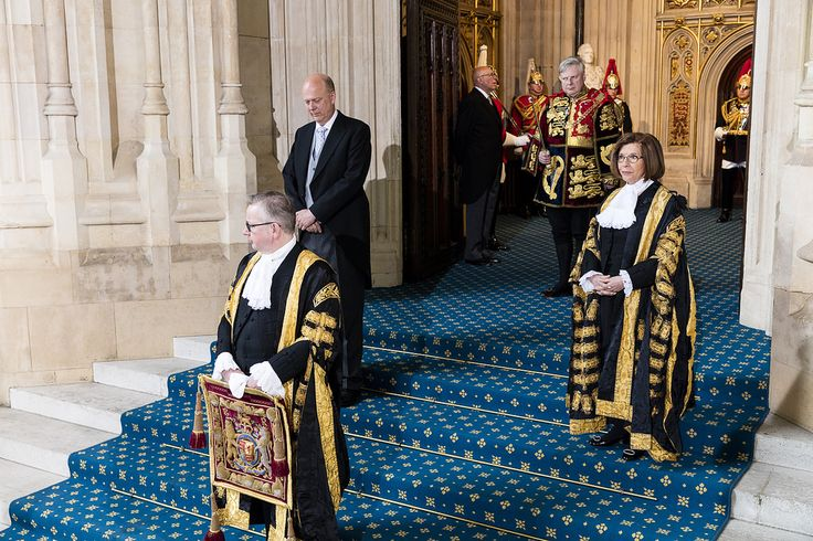 Leader of the House of Commons, Chris Grayling MP, Lord Chancellor, Michael Gove MP and the Lord Speaker, Baroness D'Souza, wait at Sovereign's Entrance for the arrival of the Queen   www.parliament.uk/business/news/2016/may/lords-state-open...  Copyright House of Lords 2016 / Photography by Roger Harris. This image is subject to parliamentary copyright. www.parliament.uk