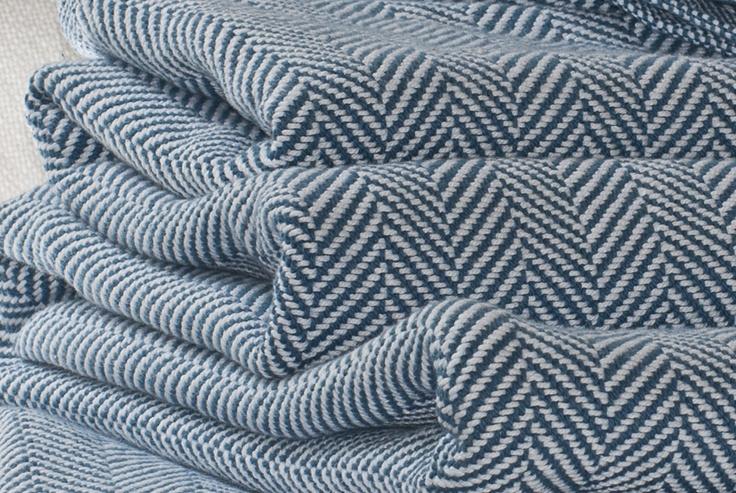 Brahms Mount Luxury Herringbone Blanket - Indigo