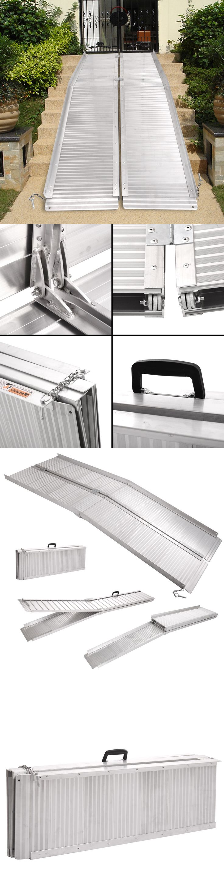 Access Ramps: 7 Aluminum Fold Portable Wheelchair Ramp Mobility Handicap Suitcase Non-Slip BUY IT NOW ONLY: $167.99