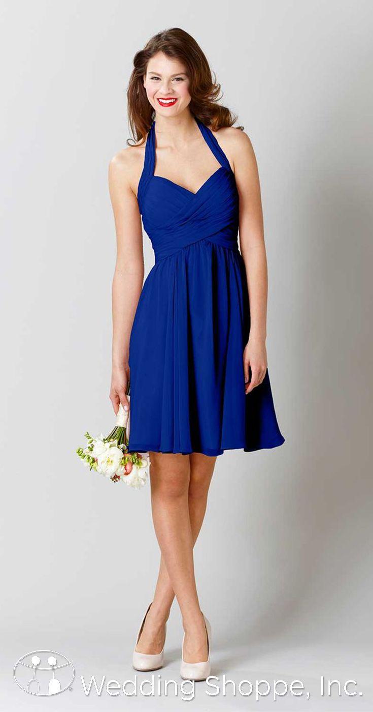 Short chiffon halter bridesmaid dress in royal.