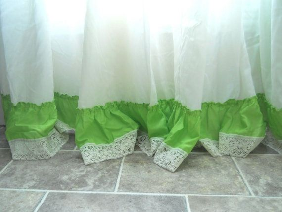 Add a little lace to the bottom of the ruffles I plan to add to the curtains.   Lime Green Curtain Ruffle Curtain Panel by TheWellDressedWindow, $49.99
