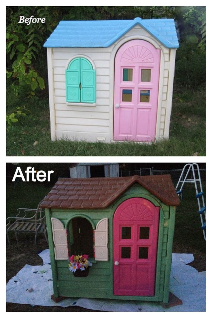 Little Tykes playhouse makeover. Use primer first then you can use any kind  Of spray paint and color you choose. I used A clear glaze as a top coat to protect from the elements.