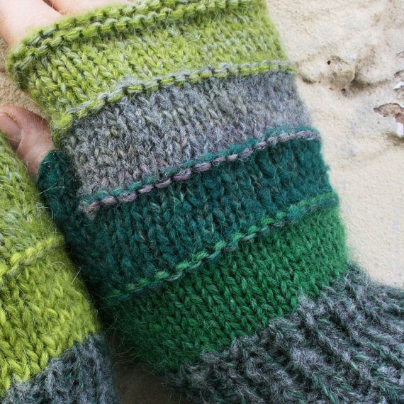 Tadpole Unmatched Striped Hand Knit Fingerless Gloves with