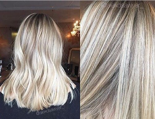 This will always be one of my favorite cut & color combos. Mixture of babylights and balayage to achieve this seamless bright blonde! Cut & color by Alexandria! Bright, beachy, mid-length blonde!