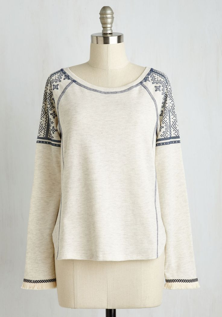 My Own Free Chill Top. Though you have an arsenal of casual tops to choose from, you always opt for this ivory pullover when the day calls for zest and relaxation. #cream #modcloth