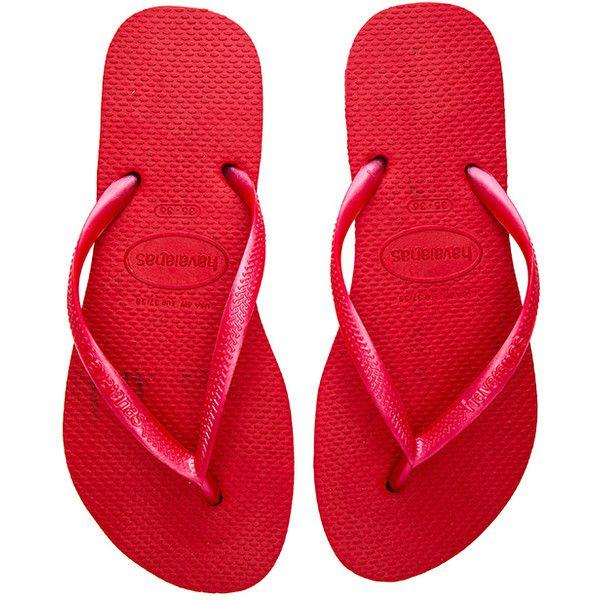 Havaianas Slim Flip Flop ($27) ❤ liked on Polyvore featuring shoes, sandals, flip flops, chinelo, havaianas, slim shoes, rubber shoes, havaianas shoes and havaianas flip flops