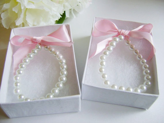 TWO Pearl Bracelets - 2 Flower Girl Gifts, Pearls and Ribbon, Jr Bridesmaid, 1st Pearls, Party Favor-- FREE Gift Packaging. $17.98, via Etsy.