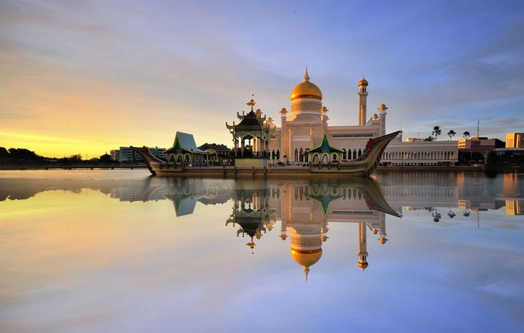 The Omar Ali Saifuddien Mosque is almost 60 years old and located in Bandar Seri Begawan, the capital of of Brunei.
