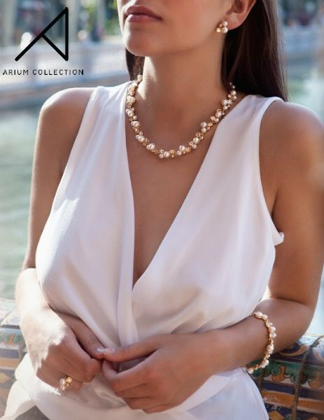 """In the words of Coco Chanel, """"a woman needs ropes and ropes of pearls."""" We're starting with our Morning Dew Collection featuring freshwater pearls that glow against the skin. // Handmade in South Korea.  #ariumcollection #highendcostumejewelry #pearls #jewelleryquotes"""