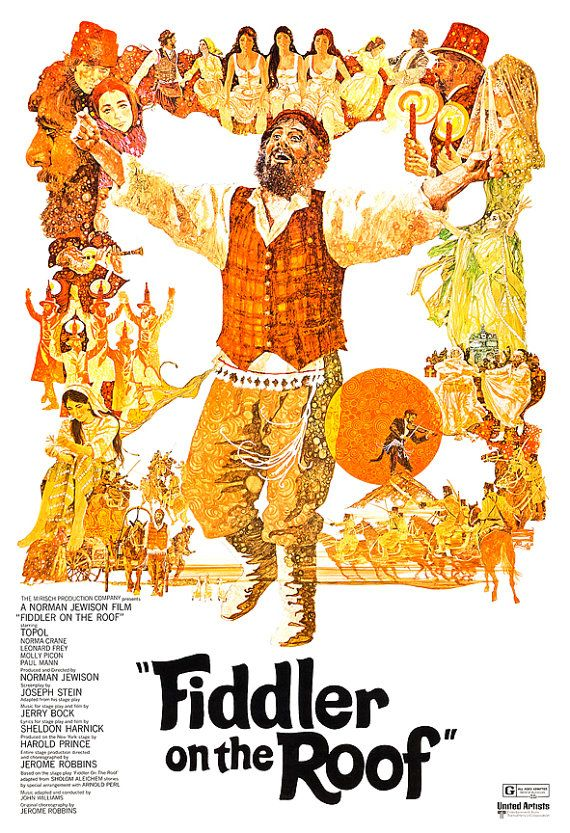 Fiddler on the Roof - Movie Musical Poster Print  -13x19 - Vintage Movie Poster - Broadway Musical - Jerome Robbins
