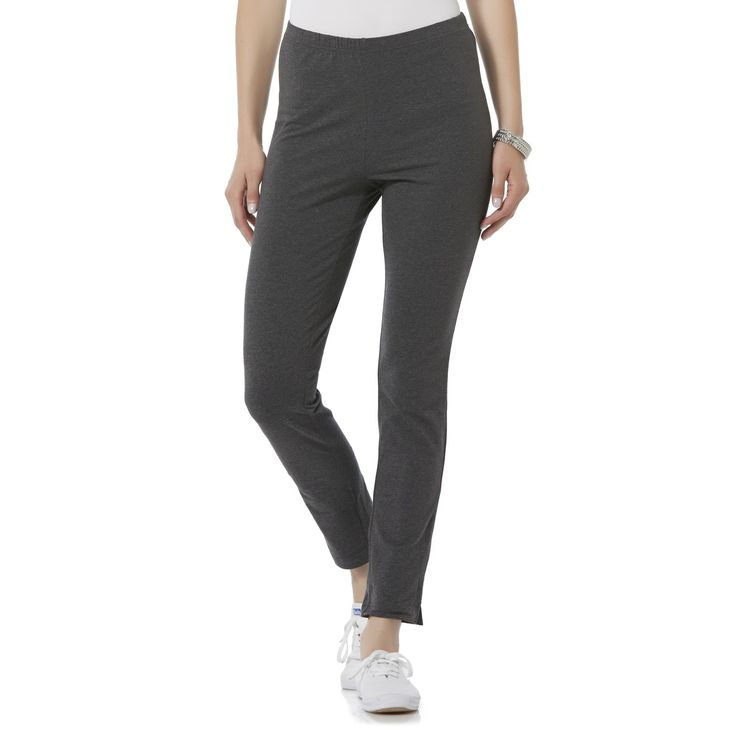 Basic Editions Women's Basic Leggings, Size: Medium, Coal Mine Heahter