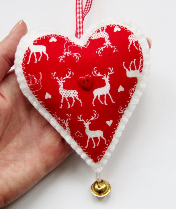 #Christmas #Hanging #Heart #Decoration #reindeer #red