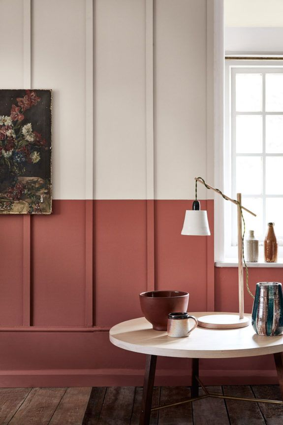 Rust Colored Paint On Faux Wainscoting Sfgirlbybay Half Painted Walls Colorful Interiors Red Walls #painting #living #room #red