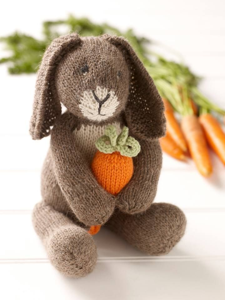Bunny with a Carrot. Taken from Knitted Rabbits by Val Pierce www.searchpress.com/book/9781844488674/knitted-rabbits