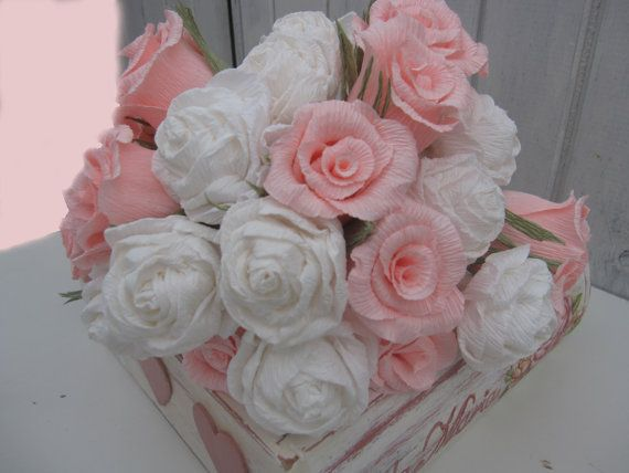 Wedding Bouquet White Light Pink Roses made with by moniaflowers