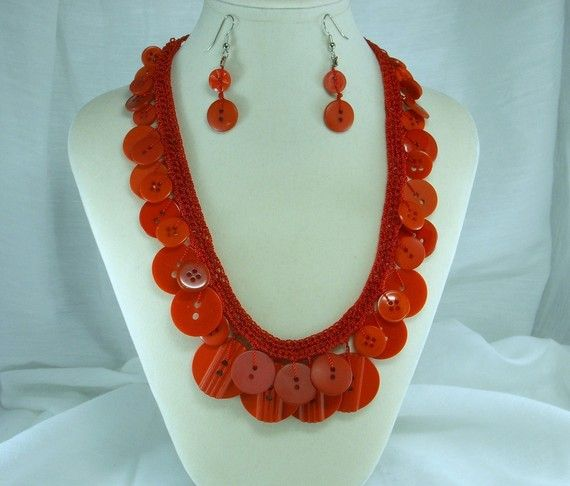 Crochet Button Necklace