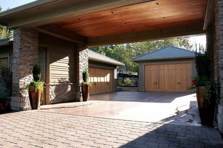 33 best images about garages on pinterest 3 car garage for Carport with attached workshop