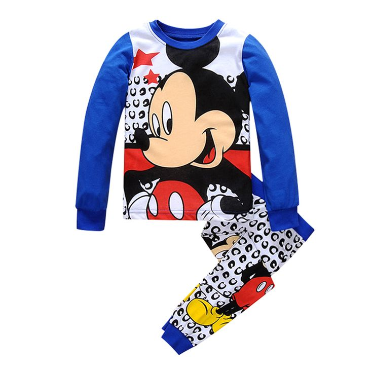 >> Click to Buy << Cartoon Mouse Print Children's Pajama Sets Blue T-shirt+Pants Boys Cotton Sleepwear Full Sleeve Home Clothes Kids Leisure Wear #Affiliate
