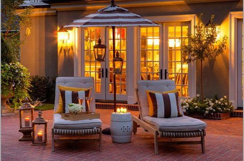 what a gorgeous patio - fun striped beach umbrella!: Front Patio, Outdoor Living, French Doors, Outdoor Area, Gardens Stools, Outdoor Spaces, Lanterns, Houses Tours, Dreams Patio