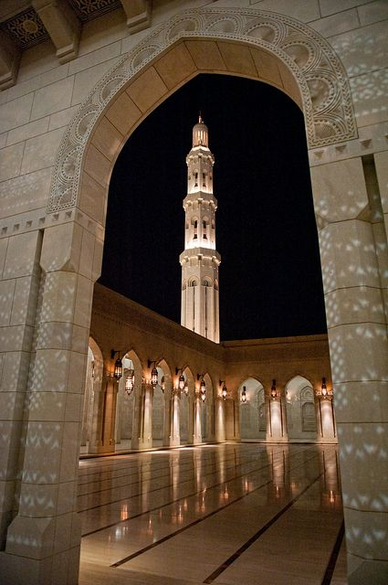 Sultan Qaboos Grand Mosque at night, Muscat, Oman ~ Photo by Oman Tourism on Flickr