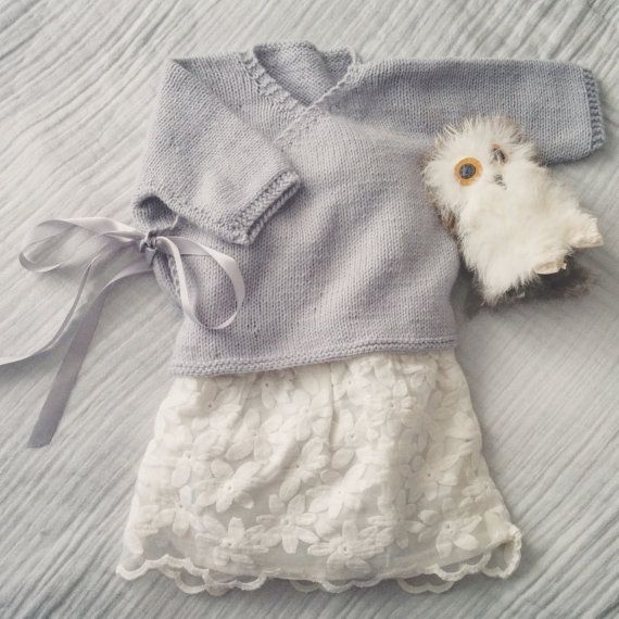 Soft gray ballet wrap sweater
