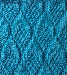 Knit/Purl+Patterns   Knitting Stitch Patterns -- Knit & Purl Stitches -- Pine Cone