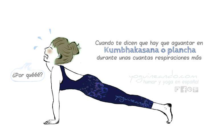 Kumbhakasana actúa muchas veces como postura intermediadora entre asanas en las secuencias. También puede ser mantenida durante un tiempo, convirtiéndose en una postura desafiante y poniendo a prueba tu paciencia.  Yoguineando, humor y yoga en español