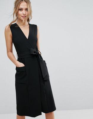 Closet V Front Midi Dress with Pockets