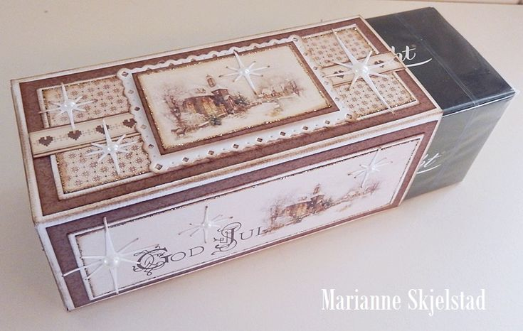 """Here is another After Eight box, perfect as a Christmas gift.Have a lovely day,MariannePion products:Christmas in Norway 6x6""""– Church PD6506Christmas in Norway – Borders PD6410Days of Winter – Tags PD5112"""