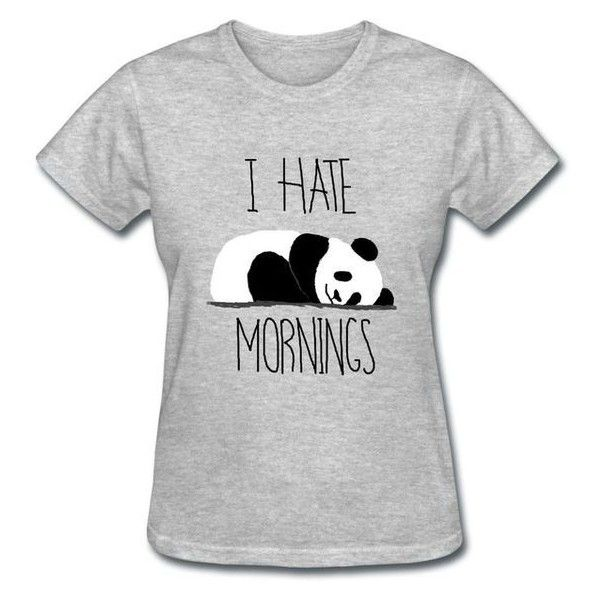 I Hate Mornings Sleeping Panda Women's TShirt Girl Tee
