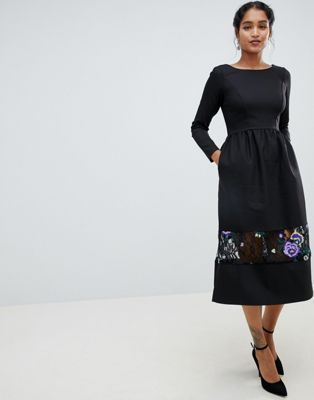 2b10f79ca Closet London long sleeve midi dress with embrodiered detail ...