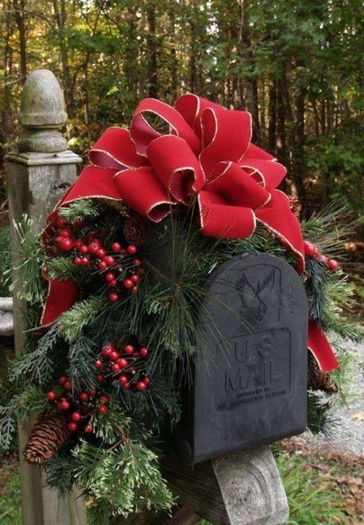 Unique, handmade, traditional Christmas mailbox garland swag.